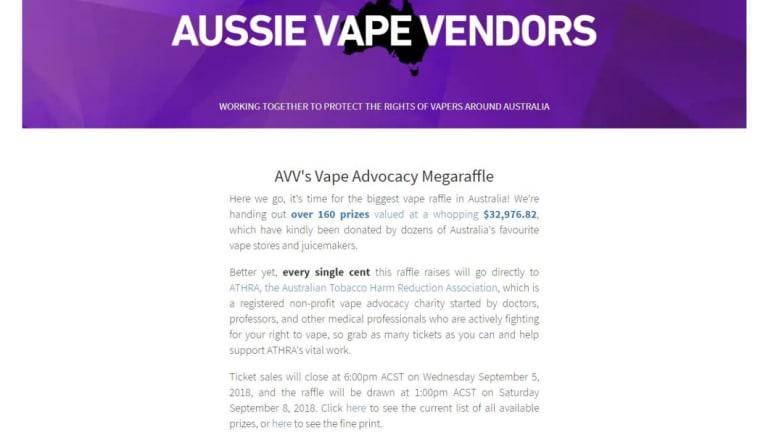 A screenshot of the Aussie Vape Vendors online raffle page.