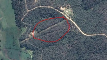 Aerial shot of the Reedy Swamp Rd fire ignition point. The bushfire would go on to destroy 65 homes in nearby Tathra.