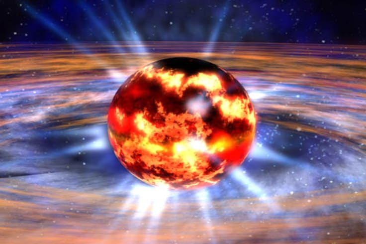 An artist's impression of a neutron star, the dense, collapsed core of a massive star that exploded as a supernova.