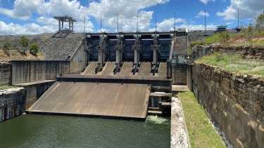 One of Wivenhoe Dam's outflow gates in January.