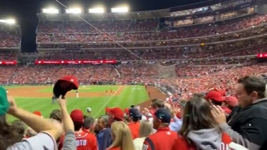 The crowd watching a World Series baseball game at Nationals Park in Washington boos US President Donald Trump.