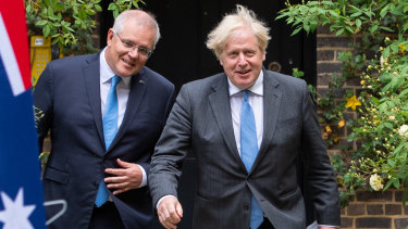 Scott Morrison and Boris Johnson in June this year when they agreed on the broad principles of the Australia-UK free trade agreement.