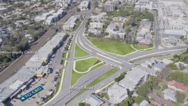 The planned upgraded Indooroopilly roundabout.