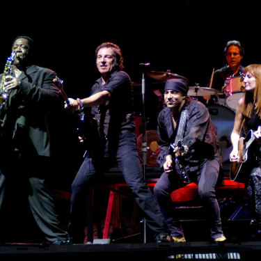 Performing in Milan with the E Street Band with his great friend and legendary sax player Clarence Clemons, who died in 2011.