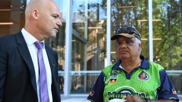 Detective Chief Inspector Jubelin with Thomas Duroux,  father of missing Bowraville child Clinton, outside the NSW Supreme Court.