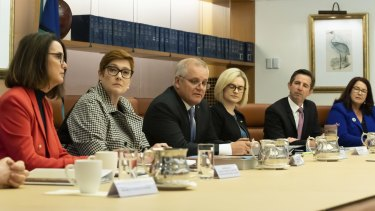 A meeting of federal cabinet's women's taskforce at Parliament House in Canberra on April 6, 2021.