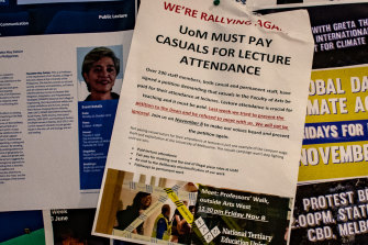 A flyer on campus highlights the issue of pay for the university's many casual academic staff.