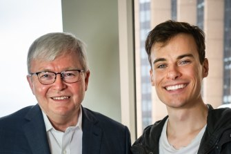 YouTube personality and comedian Jordan Shanks photographed with former Labor prime minister Kevin Rudd.