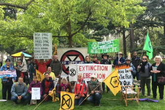 The Gippsland contingent at the Extinction Rebellion protests in Melbourne.