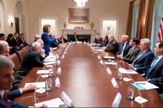 House Speaker Nancy Pelosi in discussion with US President Donald Trump.
