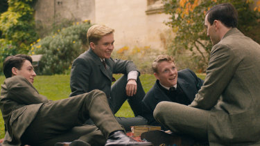 Tolkien and friends: From left, Anthony Boyle, Tom Glynn-Carney, Patrick Gibson and Nicholas Hoult in <i>Tolkien</I>.
