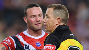 Ben Cummins talks to Roosters co-captain Boyd Cordner.