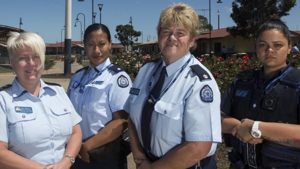 The Dame Phyllis Frost Center relies on female officers to operate. L to R Jill Buckley, I Toa, Operations manager Joy McDonald and L Tafeamaalii.