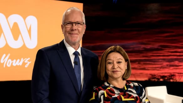The first ABC Public General Meeting held between the ABC board and members of the public in the Ultimo building. Board members Justin Milne, Michelle Guthrie,  9th Februrary 2018 Photo: Steven Siewert .