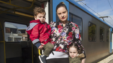 Carrie McCluskey and her children Freddie, 2, and Esther, 4.