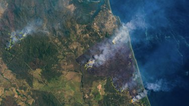 A satellite view of the central Queensland bushfires, captured on Monday.