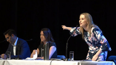 Pointing the finger: Liberal Kate Ashmor (standing) The Greens' Steph Hodgins-May and Labor's Josh Burns.
