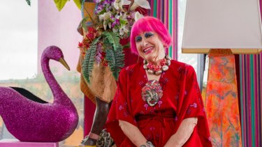 Designer Zandra Rhodes at home.