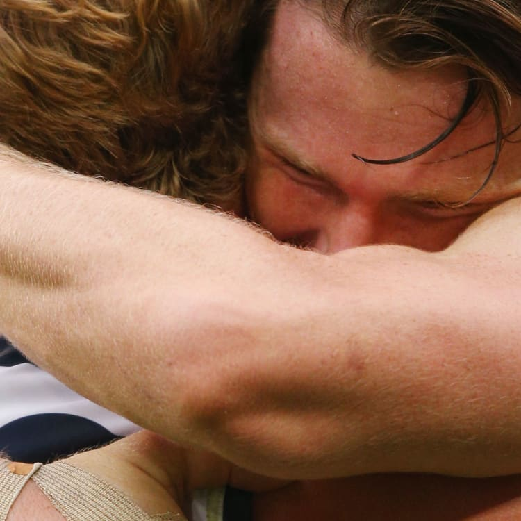 Geelong's Patrick Dangerfield gets emotional during an AFL game against Hawthorn.