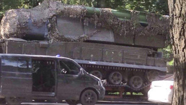 An image of Buk-Telar missile launching system probably taken on July 17, 2014, in the town of Makeevka, Ukraine.