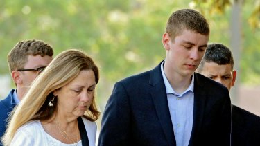 Miller's assailant Brock Turner, right, during his trial on sexual assault charges in 2016.