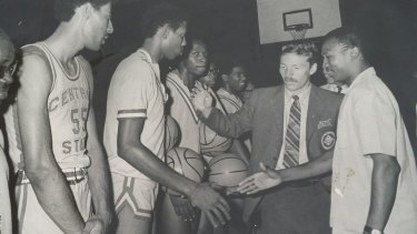 Dennis Phillips as assistant coach for a US college basketball team touring West Africa, 1970.