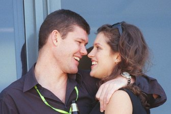 Gossip fodder: James Packer and his first fiancee, the former model Kate Fischer, were together for five years.