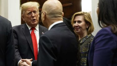 Mira Ricardel with Donald Trump at the Roosevelt Room of the White House on Tuesday.