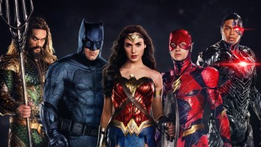 Wonder Woman and her male cohorts in Justice League.