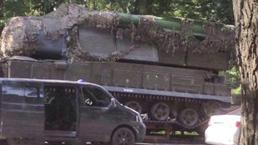 An image of Buk-Telar missile launching system probably taken on July 17, 2014, in the town of Makeevka, Ukraine. The JIT presumes that the picture contains the BUK-Telar responsible for downing MH17.