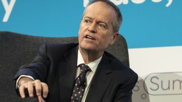 Opposition Leader Bill Shorten speaking at the Financial Review Business Summit 2019.