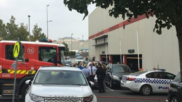 The scene at Northland Shopping Centre after police cars were rammed.