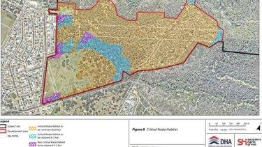 Defence Housing Australia plans to bulldoze 38 hectares of critical koala habitat on the Great Dividing Range.