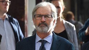 John Jarratt arrives at court in Sydney on Monday.
