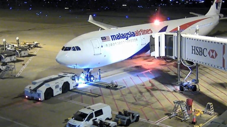 CCTV footage of aircraft at Brisbane Airport prior to its takeoff.