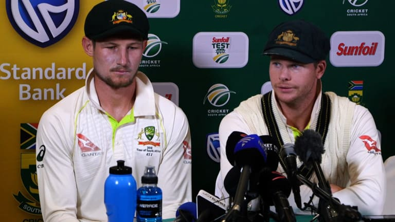 Caught red-handed: Cameron Bancroft and Steve Smith face the media in Cape Town.