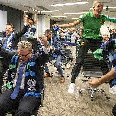 FFA chair Chris Nikou celebrates the news Australian football has been waiting for.