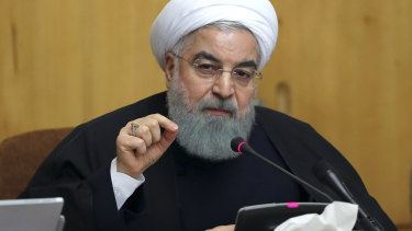 President Hassan Rouhani speaks in a cabinet meeting in Tehran, Iran.