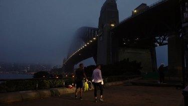 Fog over Sydney Harbour on Thursday morning.