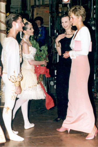 Meeting Princess Diana in London in 1992 with (from left) Miranda Coney and Maina Gielgud.