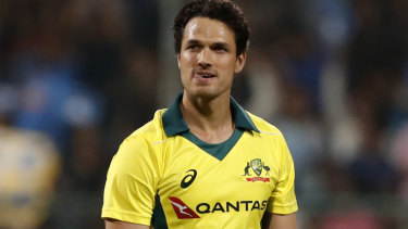 Three consecutive sixes were struck in the 16th over off Nathan Coulter-Nile, who up until that point had been the tourists' best bowler.