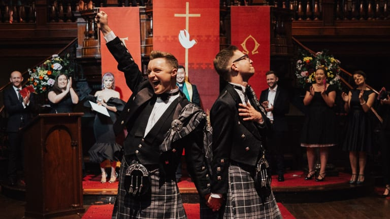 """""""It was an amazing day"""": Curtis Dickson and David Barrow married at Pitt Street Uniting Church in September."""