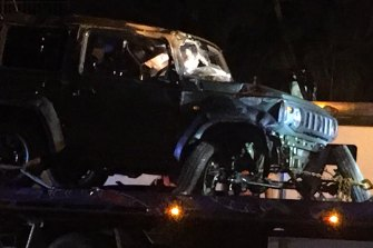 The 34-year-old driver of this Suzuki Jimny was taken to hospital after crashing inRed Hill on Friday night.