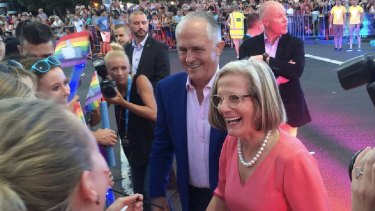 Former prime minister Malcolm Turnbull, pictured with wife Lucy, marched in the 2016 Mardi Gras parade.