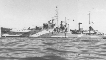 The HMAS Perth, a modified Leander-class light cruiser, in full camouflage for service in World War II.