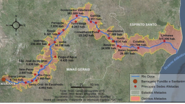 A map showing the main districts affected by the 2015 dam collapse.