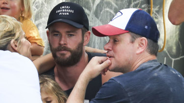 Hemsworth, his wife Elsa Pataky and Matt Damon enjoying a day out in Byron Bay.