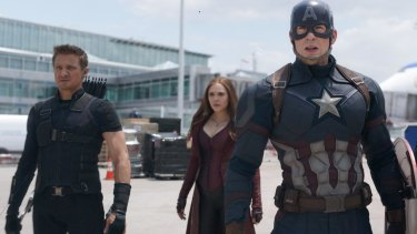 Scarlet Witch (Elizabeth Olsen, centre) with Hawkeye (Jeremy Renner, left) and Captain America (Chris Evans) in Captain America: Civil War.