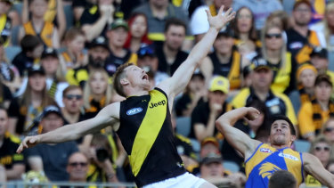 Jack Riewoldt soars against West Coast last year.