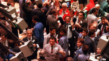 Traders on The New York Stock Exchange on Black Monday, 1987.
